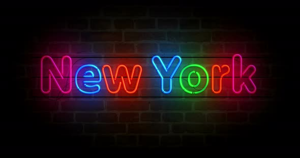 New York symbol neon on brick wall loop