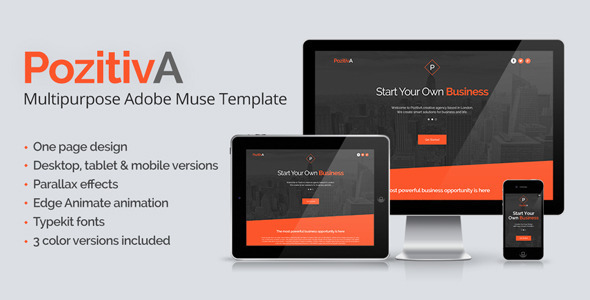 PozitivA - Multipurpose One Page Muse Template