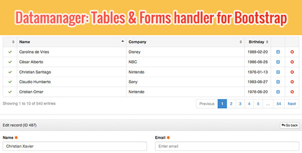 Table bootstrap template