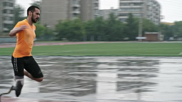 Paralympic Blade Runner Training in the Rain