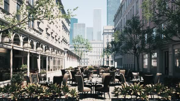 Empty city restaurant. Modern street cafe