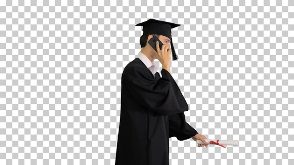 Graduating student starts walking and making a call, Alpha Channel