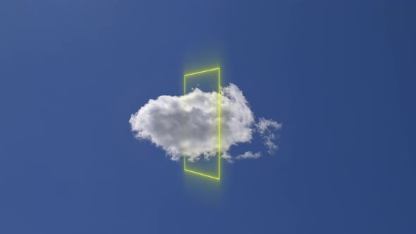 Increasing Lone Cloud with Geometric Light Shape on Clear Blue Sky. Growth and Creativity
