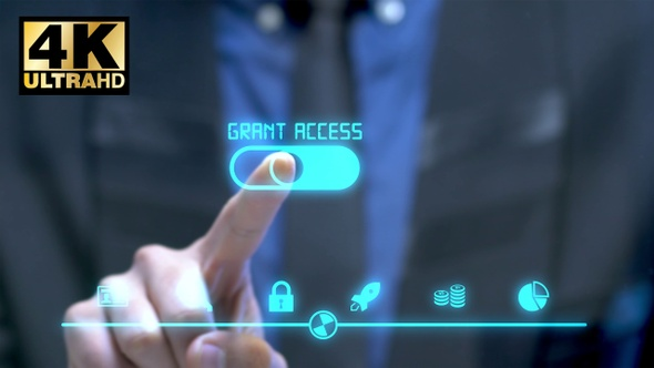 Grant access Businessman with HUD elements