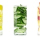 A refreshing vitamin drink made from lemon, cucumber and apple rotate on white isolated background. - VideoHive Item for Sale