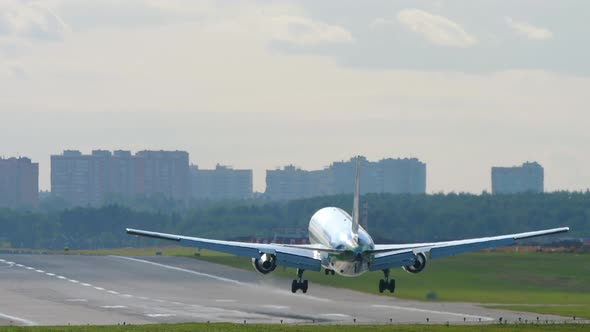 Wide Body Airliner Landing on the Runway in Airport of Moscow