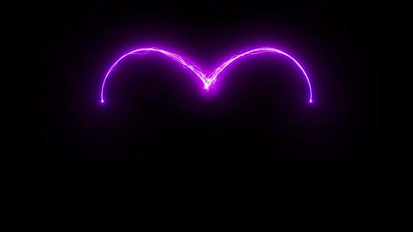 Magical glowing light streaks heart
