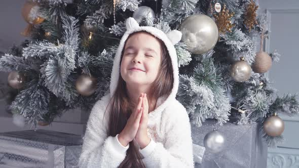 A Little Girl Makes a Wish Under the Christmas Tree