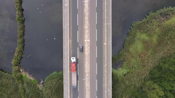 A Top Down shot over a Bridge over Water