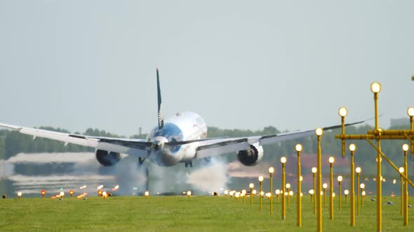Wide Body Airliner Landing in Amsterdam