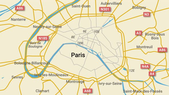 Animated map of Paris with route numbers