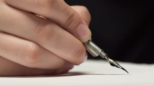 Writing with a Fountain Pen with Black Ink on a White Sheet of Paper Neat Handwriting Graphic Art