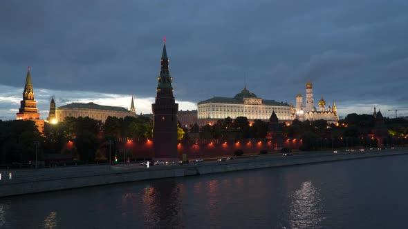 Kremlin Embankment At Night. Moscow