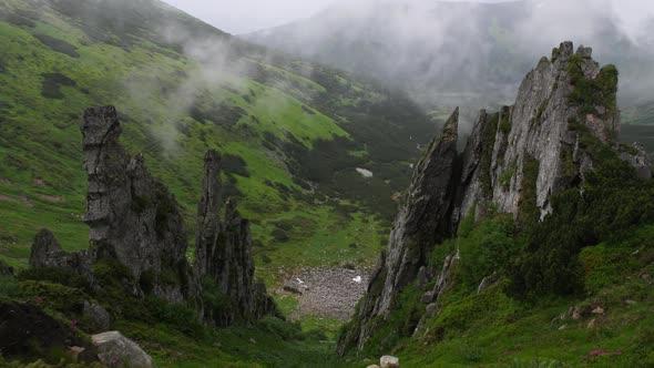 Beauty Cliffs in Summer Carpathian Mountains