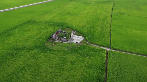 Aerial tracking abandoned house