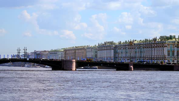The Palace Bridge and the Hermitage in Saint-Petersburg, Russia