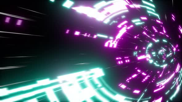 Cyberpunk Scifi Tunnel 4K 07(Side View)