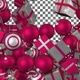 Christmas Balls and Gift Boxes Transition - Darkpink White - VideoHive Item for Sale