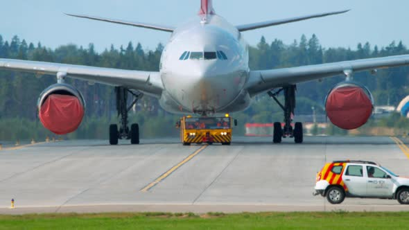 Airplane Being Towed for Maintainance