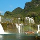 Ban Gioc Waterfall with Tour Boat in Slow Motion - VideoHive Item for Sale